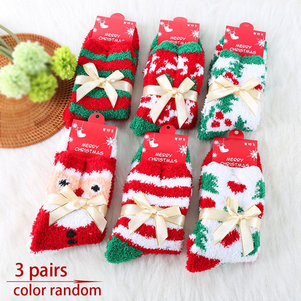 3 Pairs Cute Elastic Room Autumn/Winter Bed Cosy Fluffy Coral Fleece Christmas Soft Ladies Lounge Casual Socks