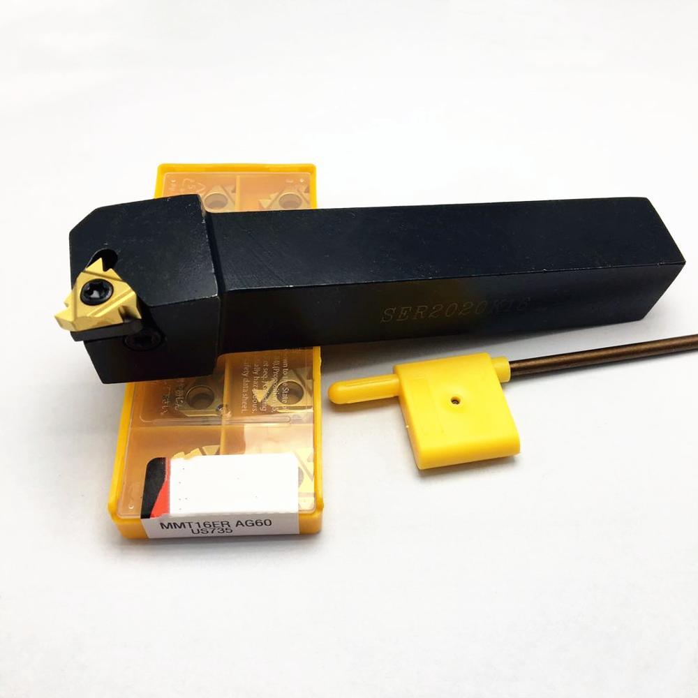 SER2020K16 SEL2020K16 SER2525M16 SEL2525 Threaded Tool Holder Boring Bar, + 10PCS 16ER Insert Insert Accessory Turning Tool Set