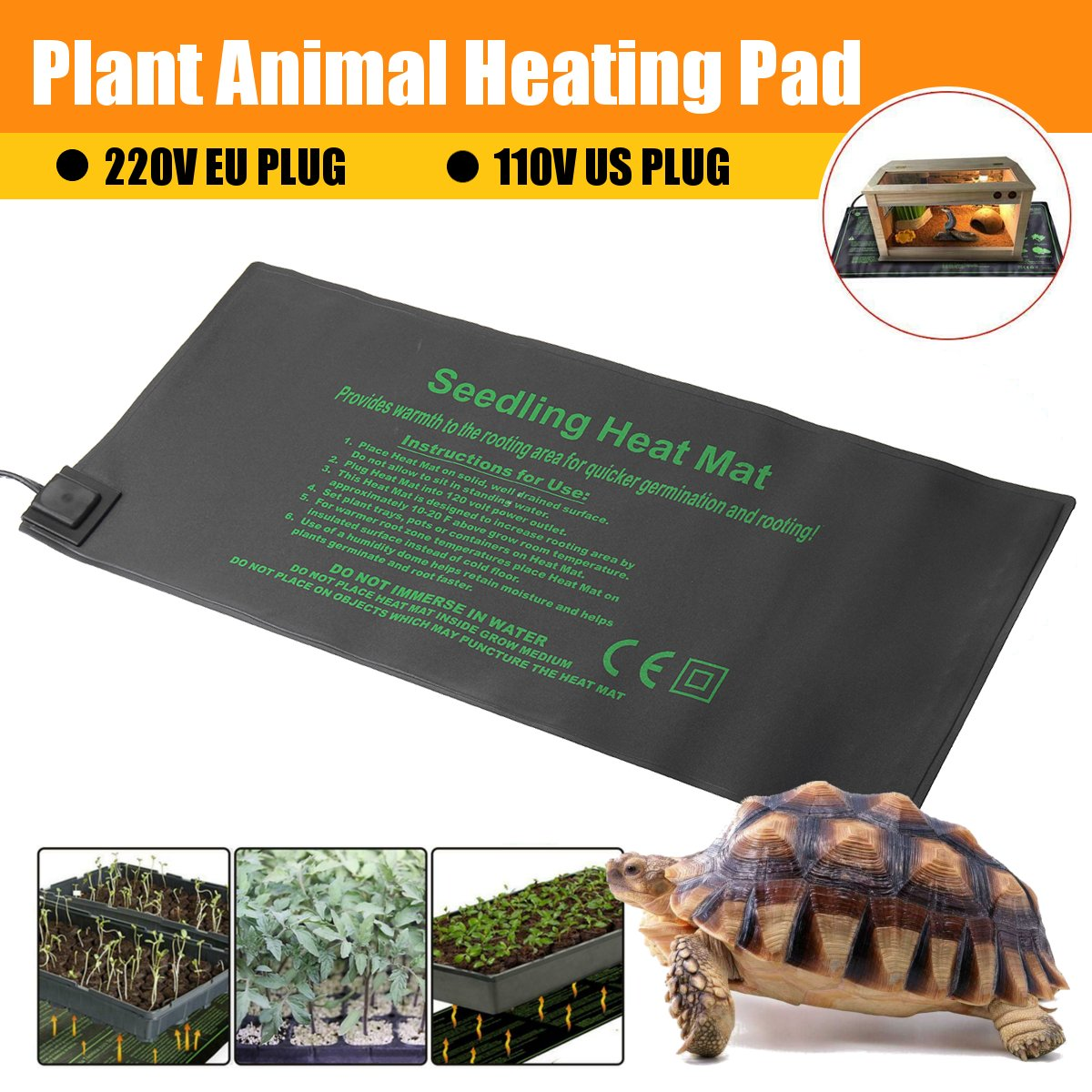 Seedling Heating Mat 52x24cm Waterproof Plant Seed Germination Propagation Clone Starter Pad Garden Supplies Pet Retile Warm Pad