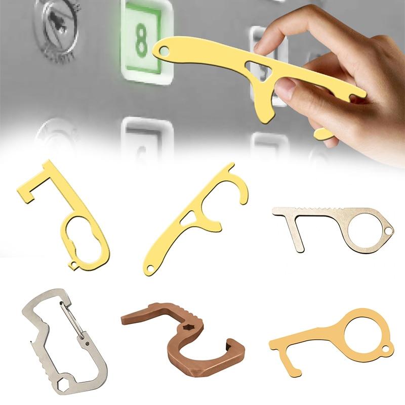 Portable Hygiene Metal Hands Free Door Opener Elevator Handle Antimicrobial Brass Key Anti-contact Door Opener Tool