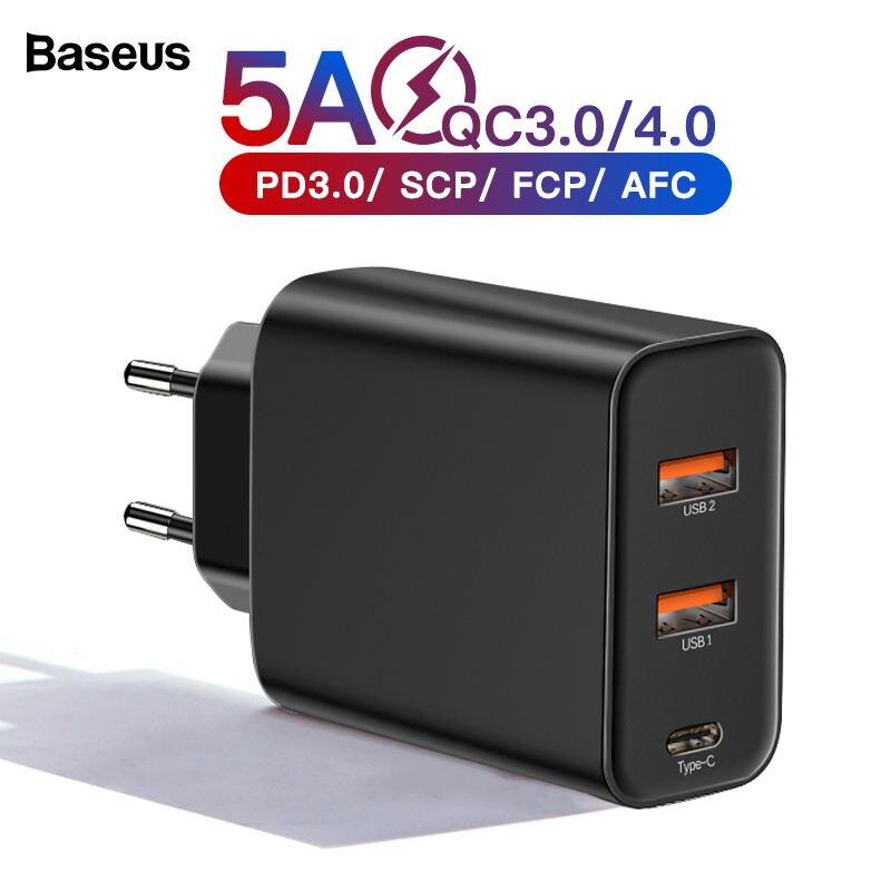 Baseus Usb-Charger QC3.0 Multi iPhone Huawei SCP Xiaomi Samsung Fast PD for Huawei/Scp/Qc4.0/..