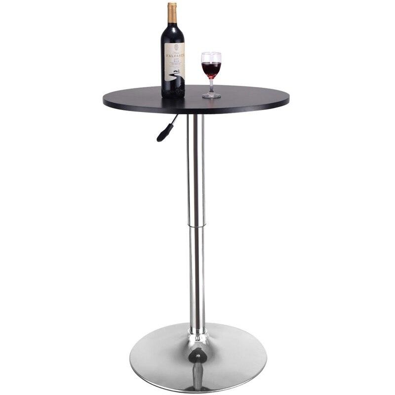 COSTWAY 2 pièces hauteur réglable moderne barre ronde Table bois Top pivotant intérieur maison Table Portable meubles HW52760