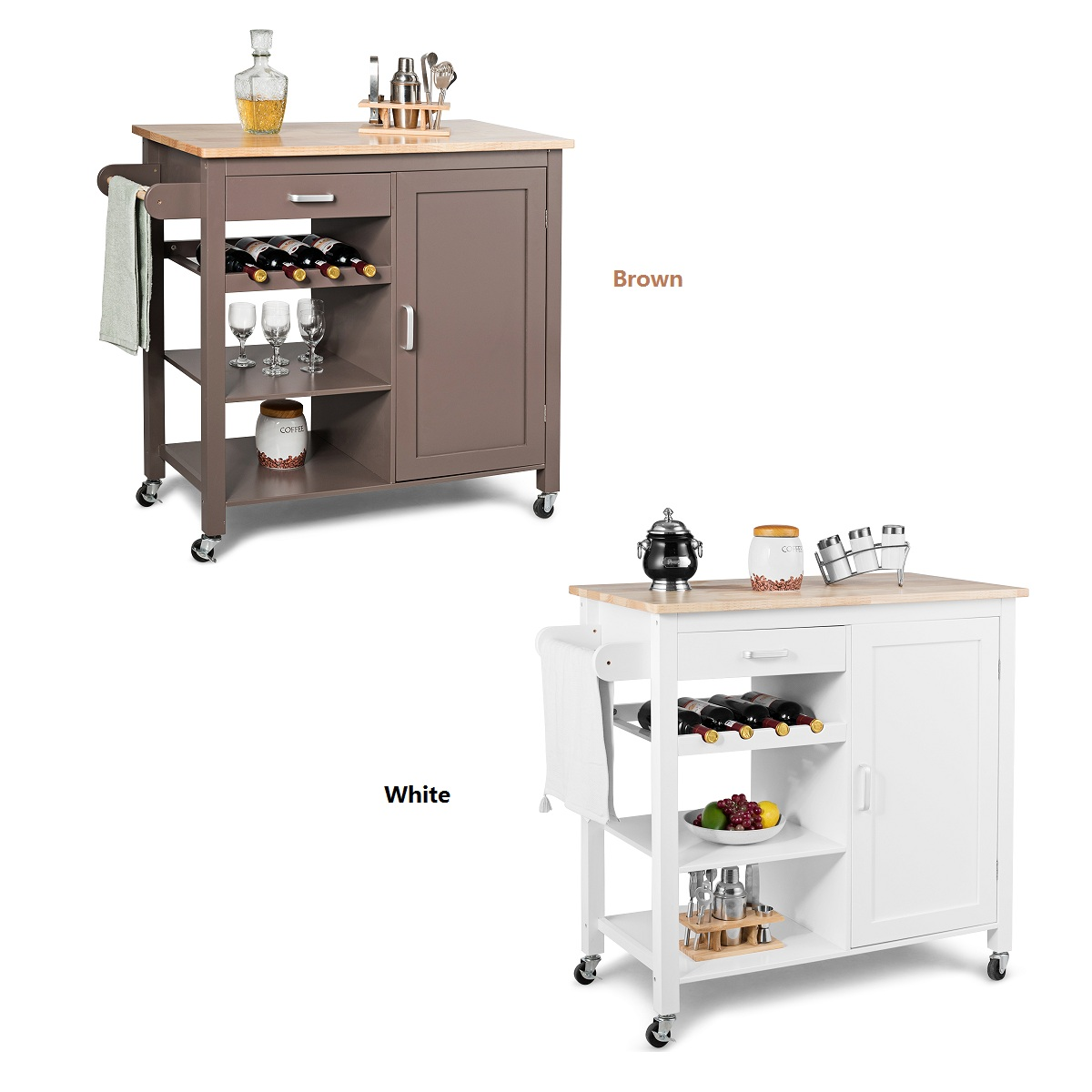 Costway Kitchen Island Trolley Cart Wood Top Storage Cabinet W/ Wine Rack & Shelf WhiteBrown