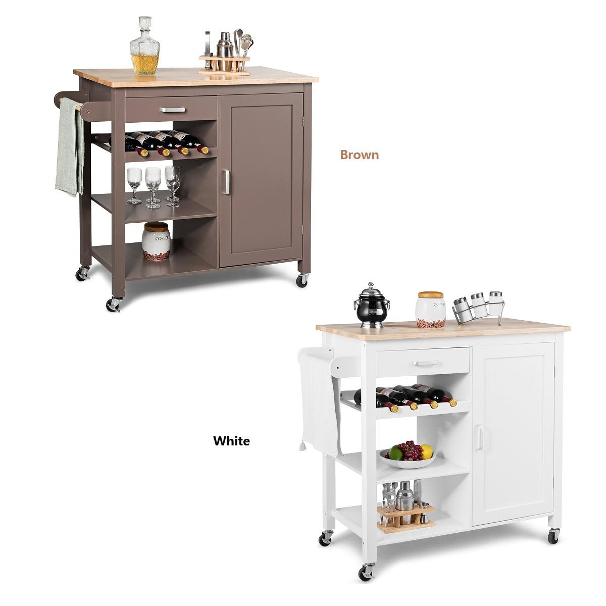 Costway Kitchen Island Trolley Cart Wood Top Storage Cabinet W/ Wine Rack & Shelf WhiteBrown