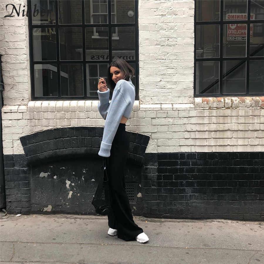 Nibber outono harajuku camisola curta feminina escritório gola alta elegante manga longa sólida colheita topo 2019 outono inverno camisola mujer