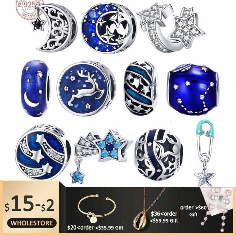 Бисаер стерлингового серебра 925 пробы голубые звезды луна Снежинка перлы звезда подвески-шармы Женщины Очаровательный посеребренный браслет 925 ювелирные изделия