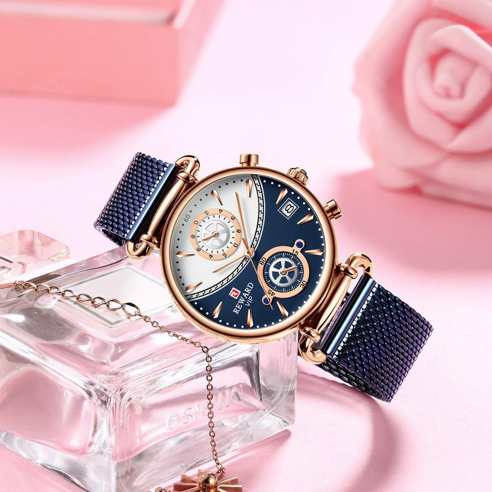REWARD Elegant Dress Quartz Watches Women Analog Clock Ultra Thin Mesh Strap Fashion Ladies Watch Waterproof Relogio Feminin