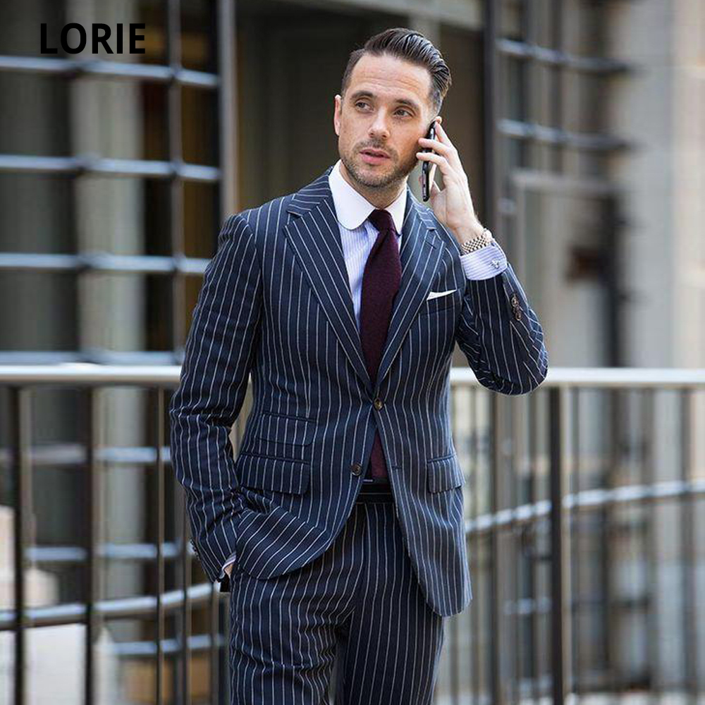 LORIE Navy Blue Stripe Business Man Suits 2020 Work Suit Groom Tuxedos Men Wedding Clothes Prom Party Formal Suits Custom Made