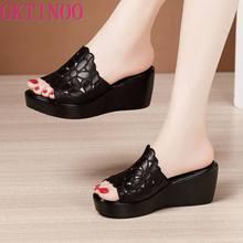 Keile Ferse Sandalen Frauen Sommer 2021 Plattform Hohl Blume Sandalen Große Größe 41 43 Komfortable Offene spitze Schwarze Schuhe Weibliche