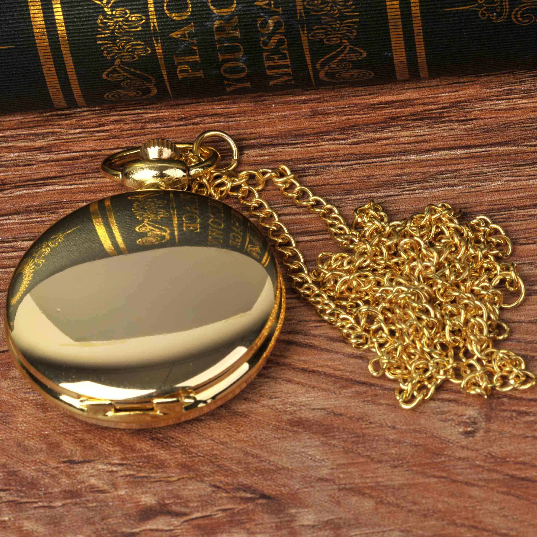 8823 suave e brilhante moda vintage two-sided ouro relógio de bolso com preto numerais romanos superfície, com um relógio de bolso