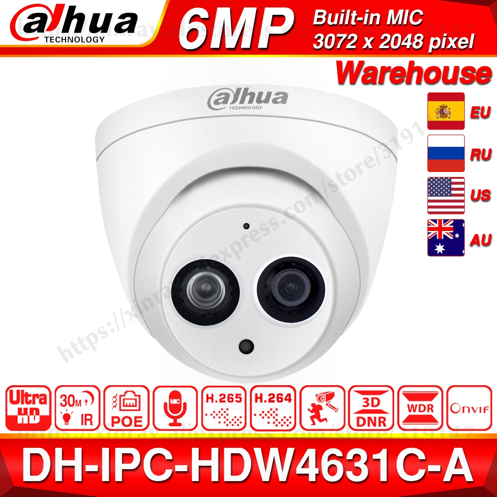 Dahua IPC-HDW4631C-A 6MP HD POE Network Mini Dome IP Camera Metal Case Built-in MIC CCTV Camera 30M IR Night Vision Dahua IK10
