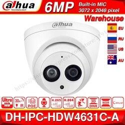 Dahua IPC-HDW4631C-A 6MP HD POE сетевая Мини купольная IP камера металлический чехол Встроенный микрофон CCTV камера 30 м ИК ночного видения Dahua IK10