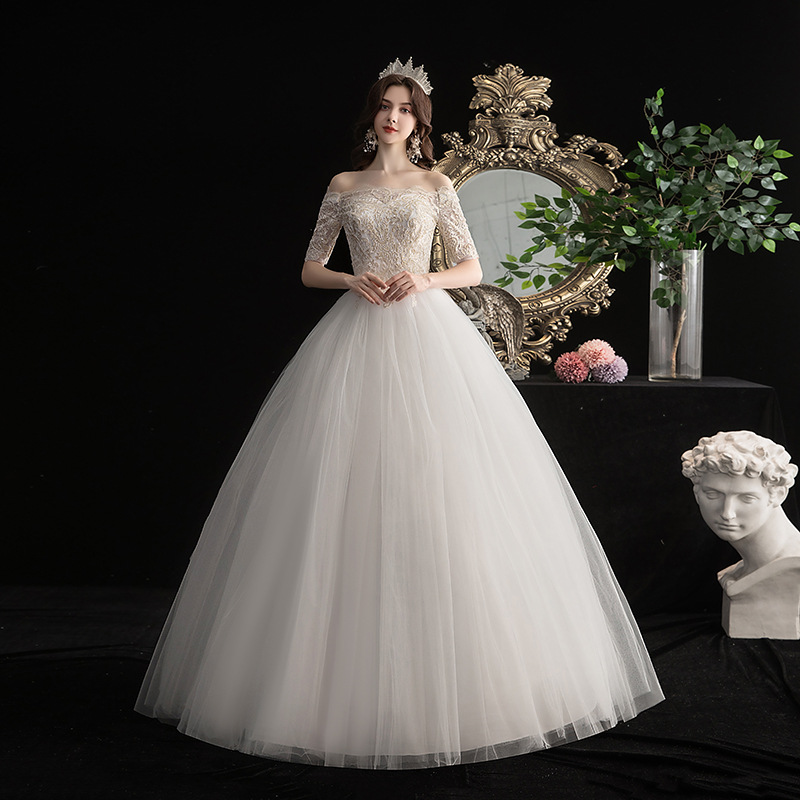 Popodion Lace Wedding Dress Champagne Bride Dress With Sleeve Wedding Gowns WED90544