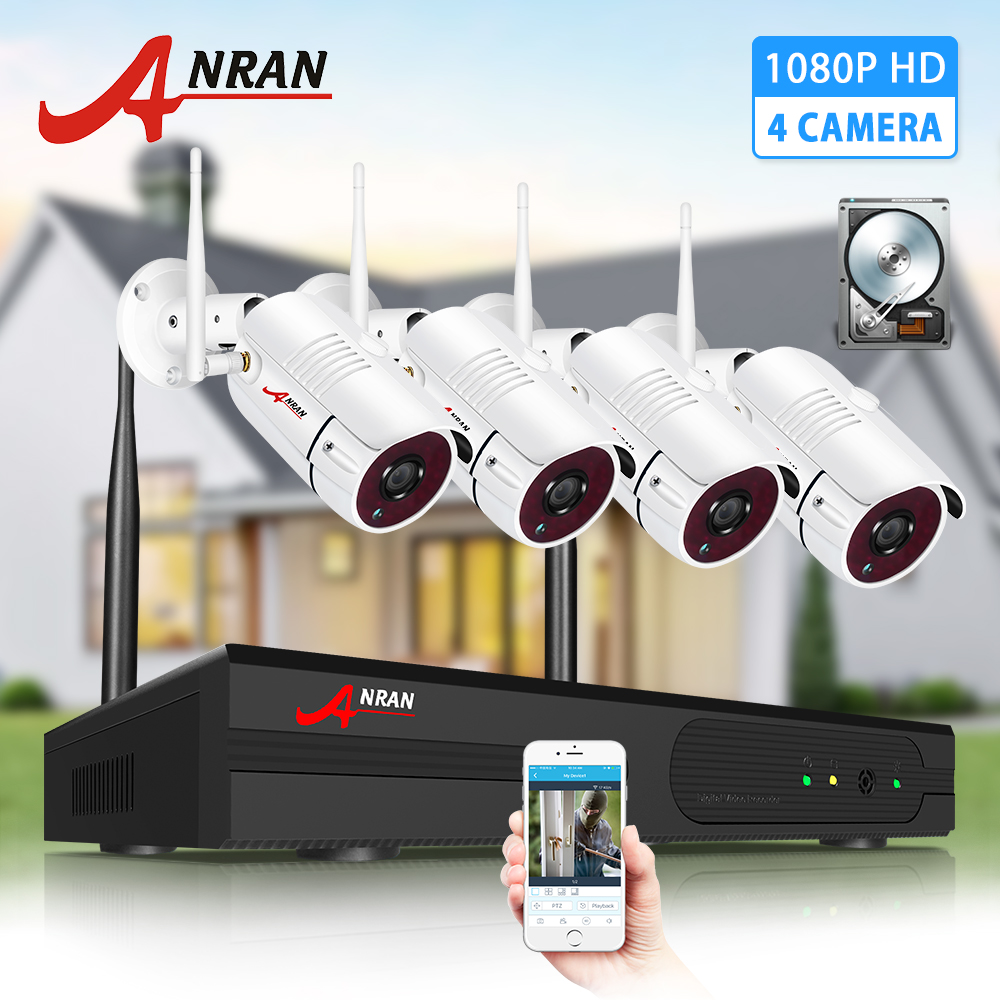 ANRAN Wireless CCTV System 1080P 2MP Video Surveillance Kit Outdoor Weatherproof Security Camera NVR Kits Night Vision IR Cut HD