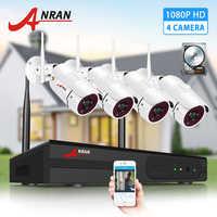 Sistema de CCTV inalámbrico ANRAN 1080P 2MP Kit de videovigilancia cámara de seguridad resistente a la intemperie Kits NVR visión nocturna IR Cut HD