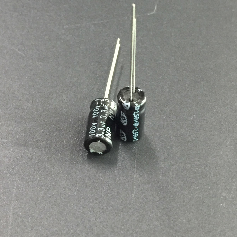 10pcs/100pcs 3.3uF 100V KT NP 6x12mm 100V3.3uF Bipolar Aluminum Electrolytic Capacitor