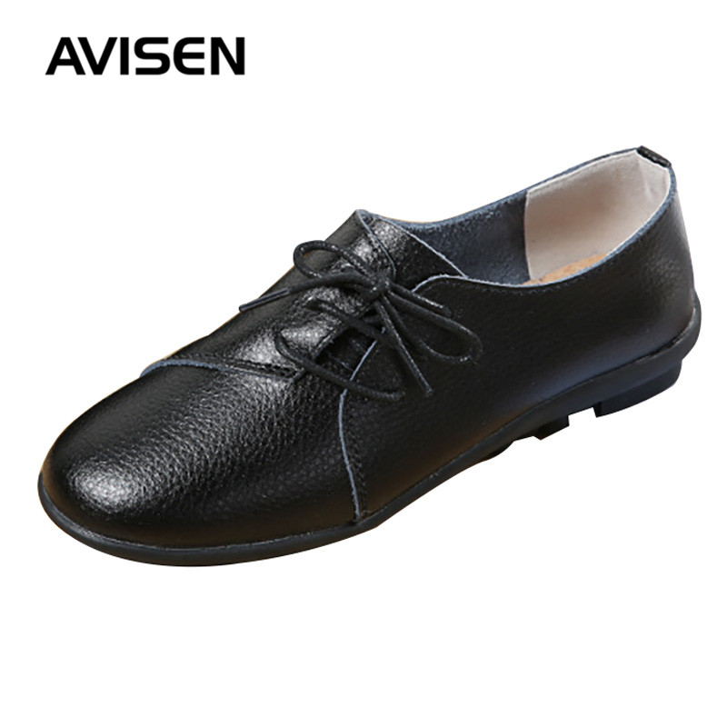 2019 Fashion Women Shoes Woman Breathable Leather Flats Ladies Shoes Non-slip Sneakers Women Lace Up Casual Loafers