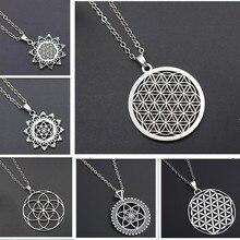 Flower of Life Charms Mandala Mercaba Spirit Digital Secret Charm Fashion Sports Yoga DIY Metal Necklace 1pcs