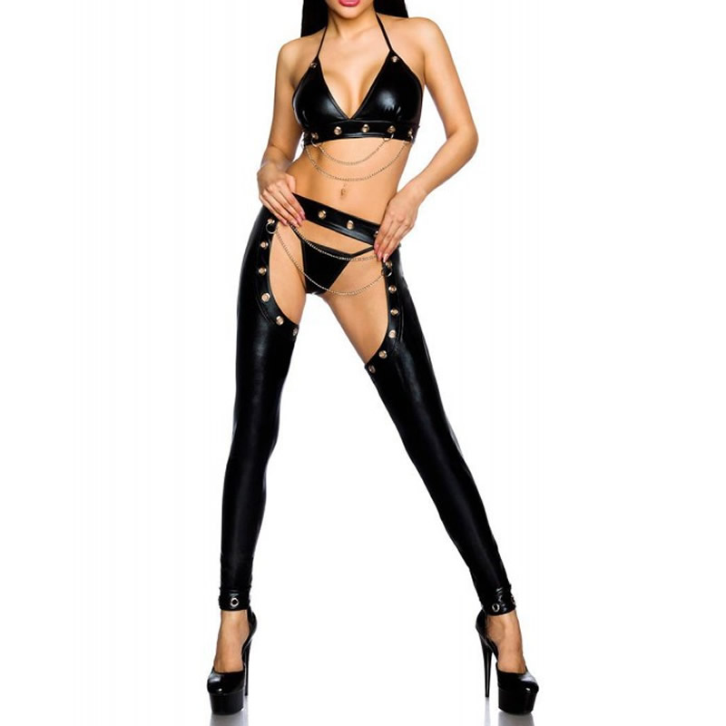 2PCS Women Lingerie Set Sexy Faux Leather Bra+Open Crotch Pants Baby Doll Exotic Sets Party Night Dance Clubwear Exotic Apparel