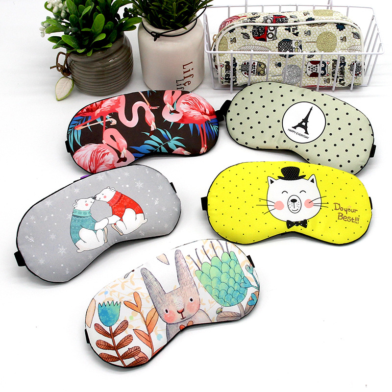 Cute Cotton Cartoon Sleep Eye Mask Ice Hot Compress Eye Cover Cold Gel Packs Sleeping Mask Travel Rest Kids Eye Band Blindfolds