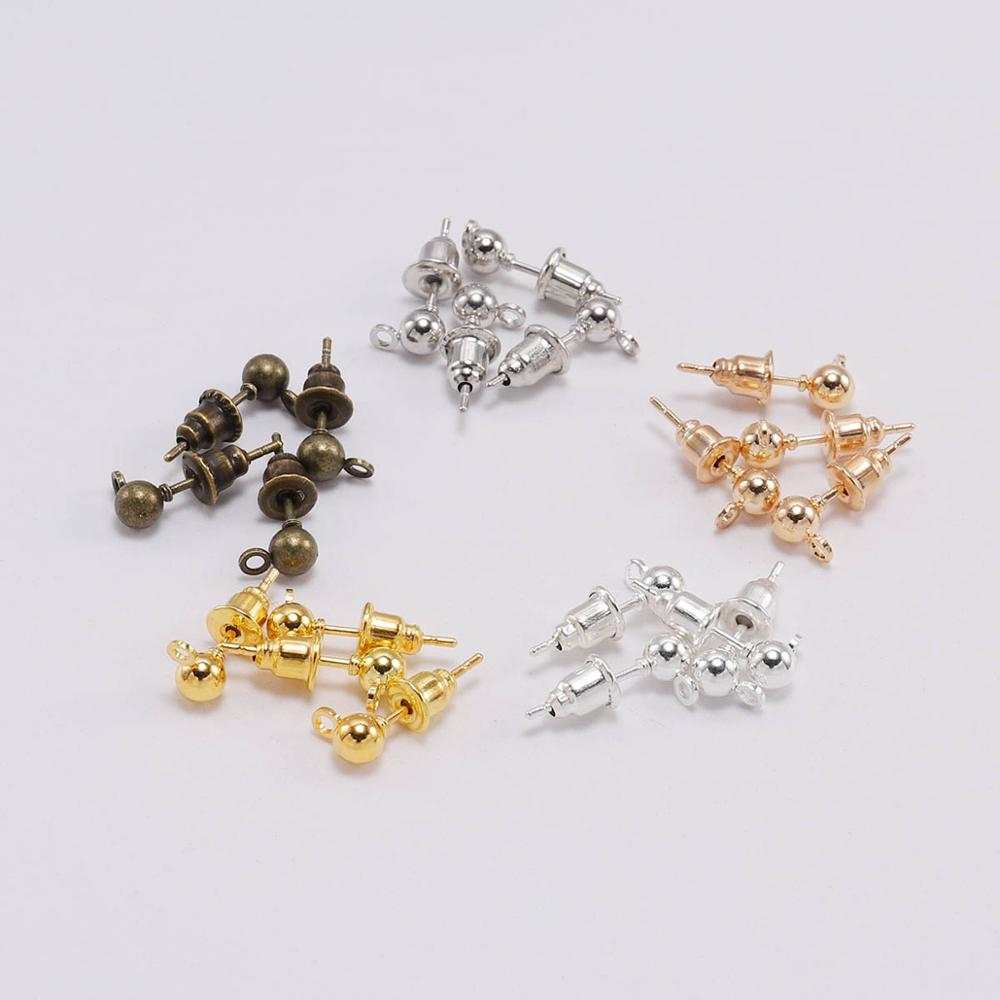 50 шт./лот 3-5 мм золотые Родиевые серьги-гвоздики с шариковой оправой, с цилиндрической задней пробкой, коннектор для самостоятельного изгото...