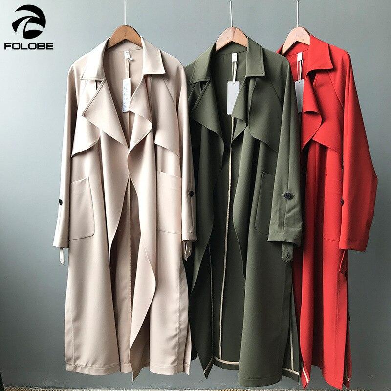 2019 Autumn Women Long Coat Turn Down Collar Harajuku Women Army Green   Trench   Coat Casaco Feminino Abrigo Mujer   Trench   Femme