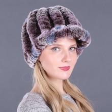 Winter Hat Beanies Earflap-Cap Real-Rabbit-Fur Ski Warm Women Thick Skullies Female Colorful
