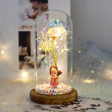 Mother's Day Gift Beauty And Beast Rose In Glass Dome Home Decor Night Light Romantic Valentine's Day Artificial flowers Present