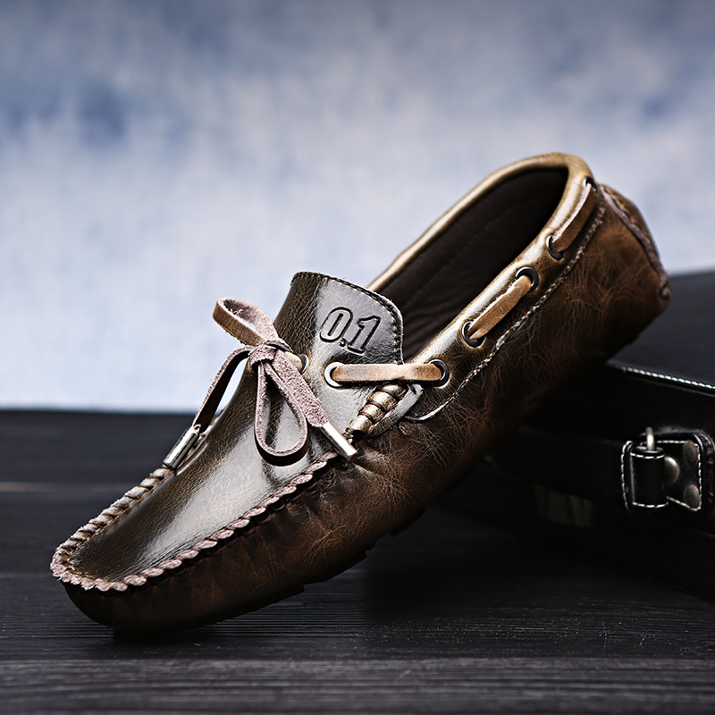Men's Driving Shoes 2019 Men Genuine Leather Loafers Shoes Fashion Handmade Soft Breathable Moccasins Flats Slipe On Shoes X3-66