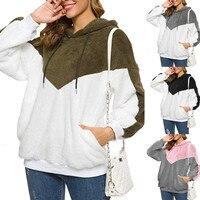 2019 Hoodies Women Hooded Plus Velvet Long Sleeve Women's Loose Fuzzy Pullover Sweatshirt Soft Fleece Faux Blouse hoodies