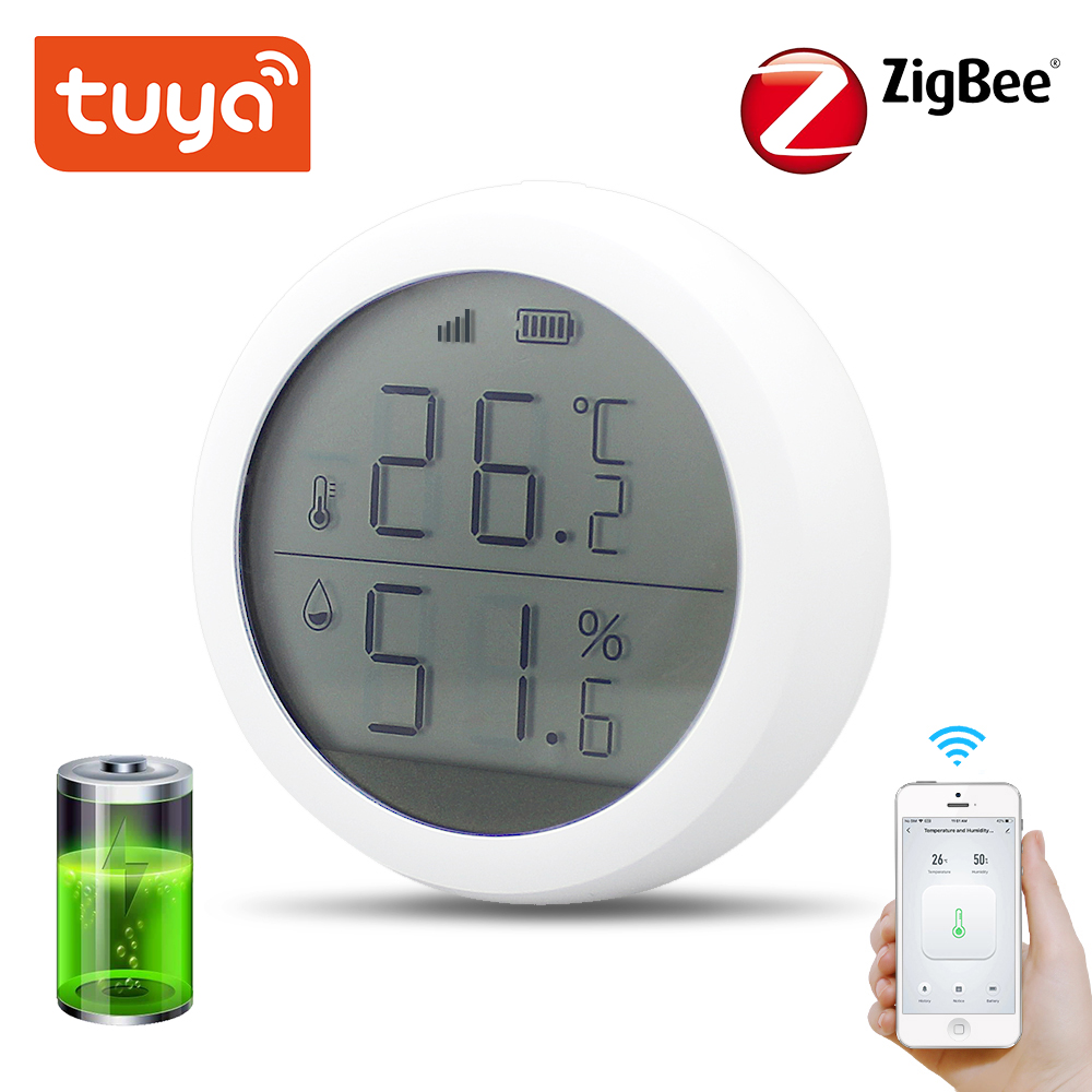 Tuya Zigbee Temperature And Humidity Sensor With LCD Screen Display With Battery Home Automation Scene Security Alarm Sensor