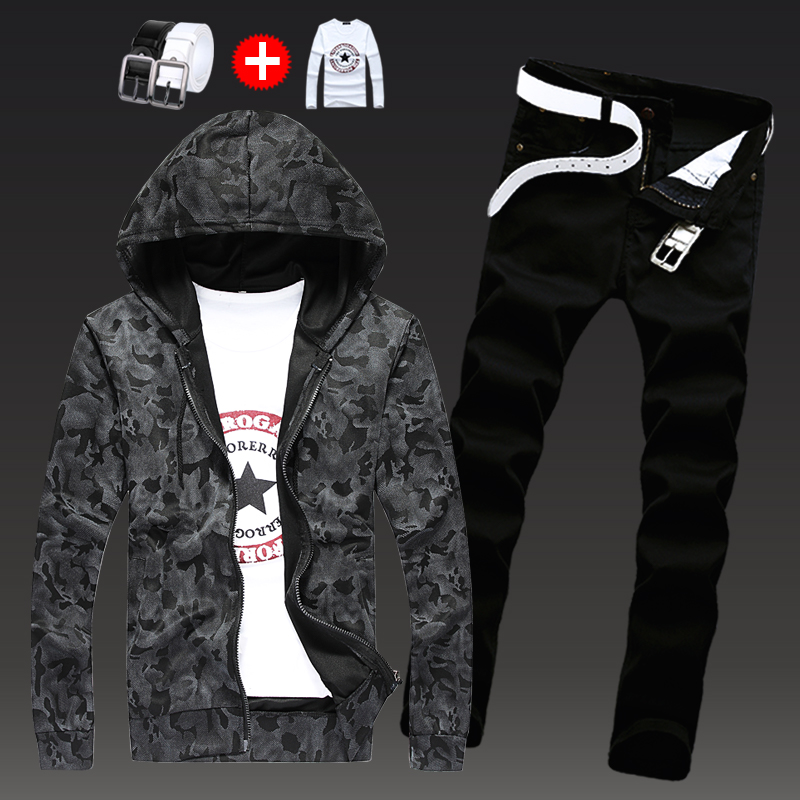 Autumn Mens 2pcs Sweatshirt Hoodie Jacket Pencil Pants Set Hooded Coat Trousers Jeans For Male Casual Outwear S-3XL N1