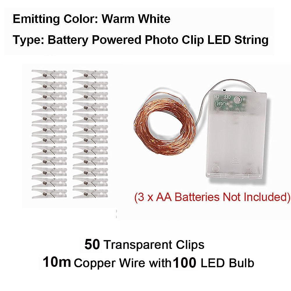 2 м/5 м/10 м зажим для фото USB светодиодный гирлянды сказочные огни наружная гирлянда на батарейках рождественские украшения вечерние, свадебные, рождественские - Испускаемый цвет: 10m Warm White