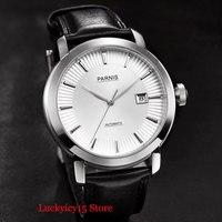 고급 PARNIS 브랜드 남성용 시계 폴리 쉬드 시계 케이스 자동식 무브먼트 41mm 손목 시계 실버 컬러 마크