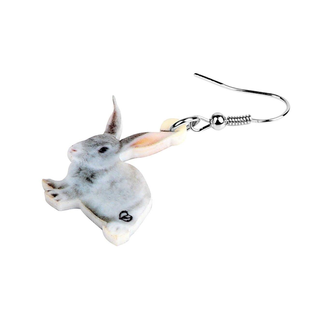 Pendientes de plata de conejo Bunny Stud Pernos Mascotas Animales Dangly Presente Regalo