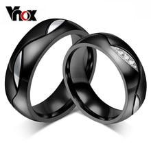 Vnox bague de mariage noire pour amant bague de Couple en acier inoxydable 316l bijoux de fiançailles