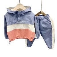 2019 Toddler Boys Clothing Set Fashion Hooded Color Stitching Sweatshirt Sweatpants Kids Tracksuit 2 3 4 5 6 Y Children Cloths