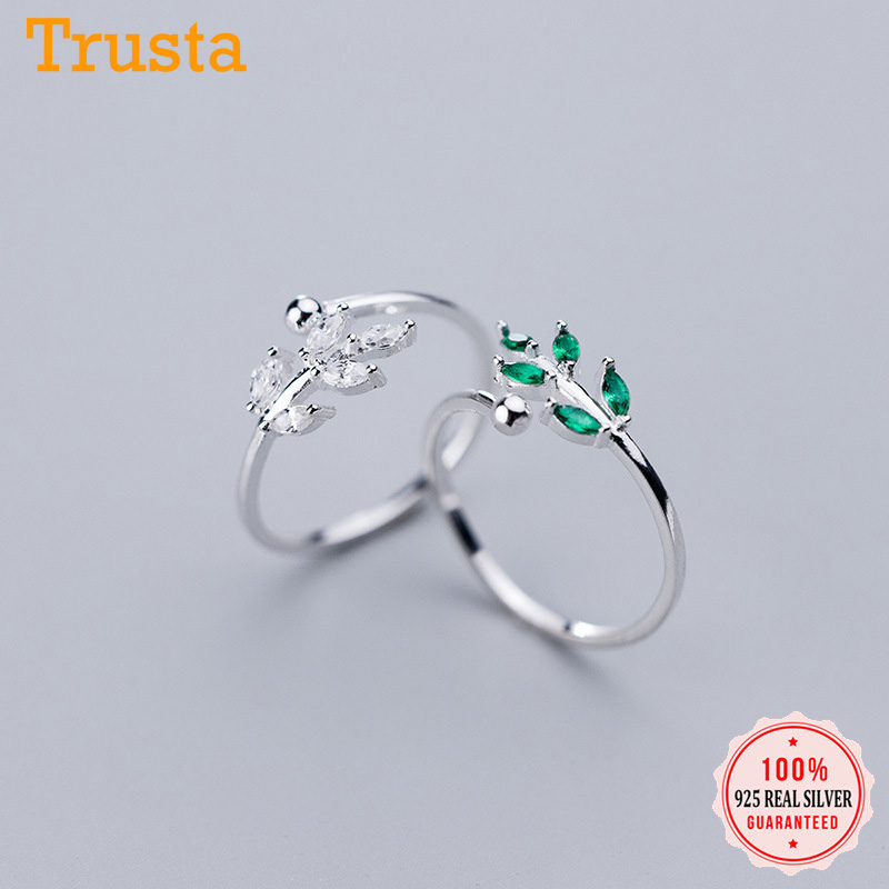 Trustdavis Youthful Vitality 925 Sterling Silver Sweet Leaves CZ Cocktail Sizable For Women Party Silver 925 Ring Jewelry DA328