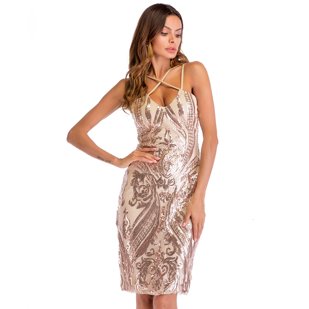 BGW Sequined Cocktail Dresses Shining Sleeveless Cross Criss V-neck Party Dress Jurk Sexy Appliques Short Formal Gowns Suknie