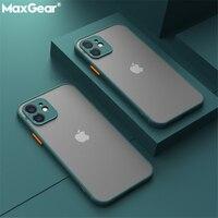 Custodia opaca antiurto per iPhone 12 11 Pro Xs Max XR X 6 7 8 Plus SE Mini paraurti in Silicone di lusso trasparente custodia rigida per PC Funda