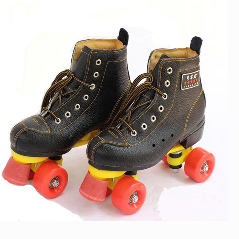 New Double Line Adult Women Men Indoor Quad Parallel Cow Leather Cowhide Skates Shoes Boots 4 Wheels PU Brake Wear-Resisting