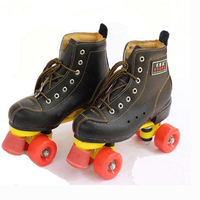 New Double Line Adult Women Men Indoor Quad Parallel Cow Leather Cowhide Skates Shoes Boots 4 Wheels PU Brake Wear Resisting