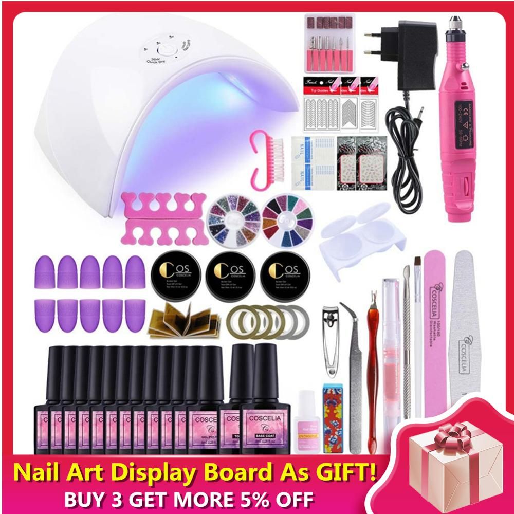 COSCELIA 36W UV LED Lamp Manicure Set 6/10/12 Color Gel Nail Polish Set Top Base Coat Manicure Tool Acrylic Nail Kit Nail Art