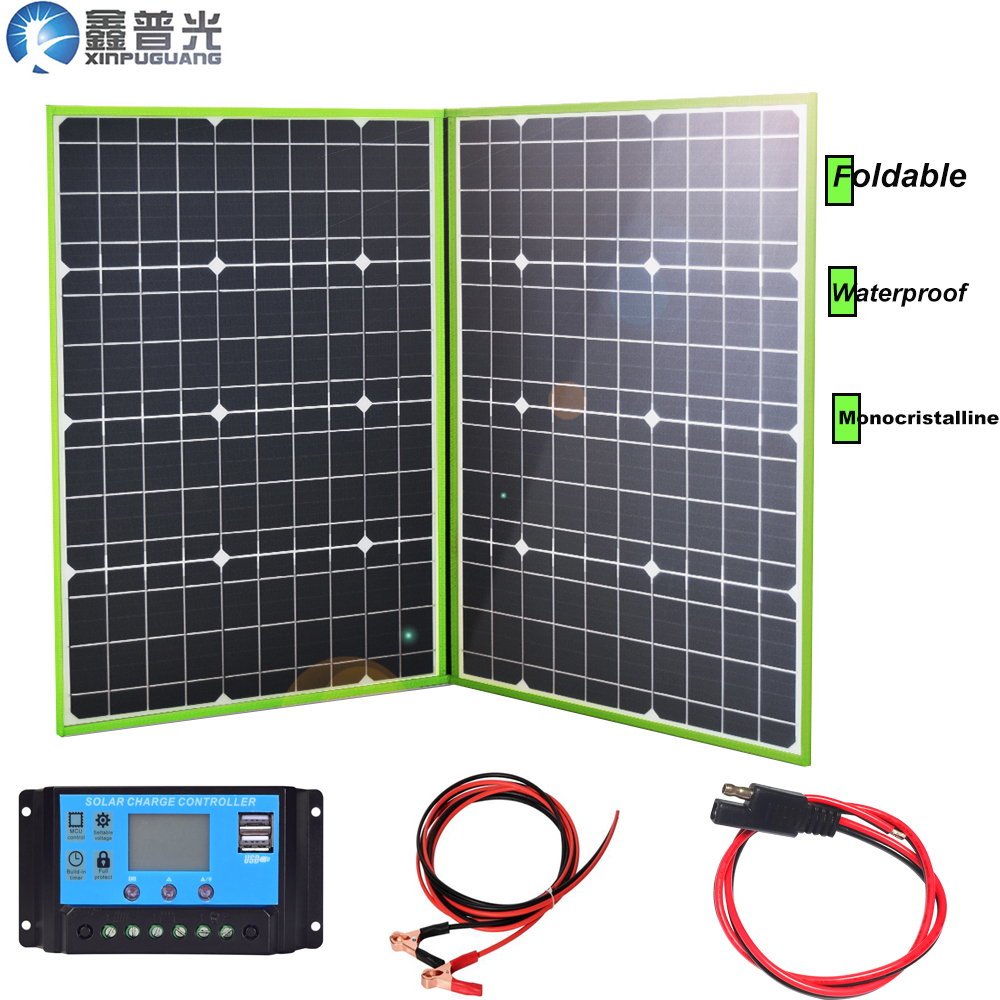 100w 20v foldable <font><b>solar</b></font> <font><b>panel</b></font> flexible home kit portable charger system 5v usb for 12v RV car battery camping hiking outdoor image