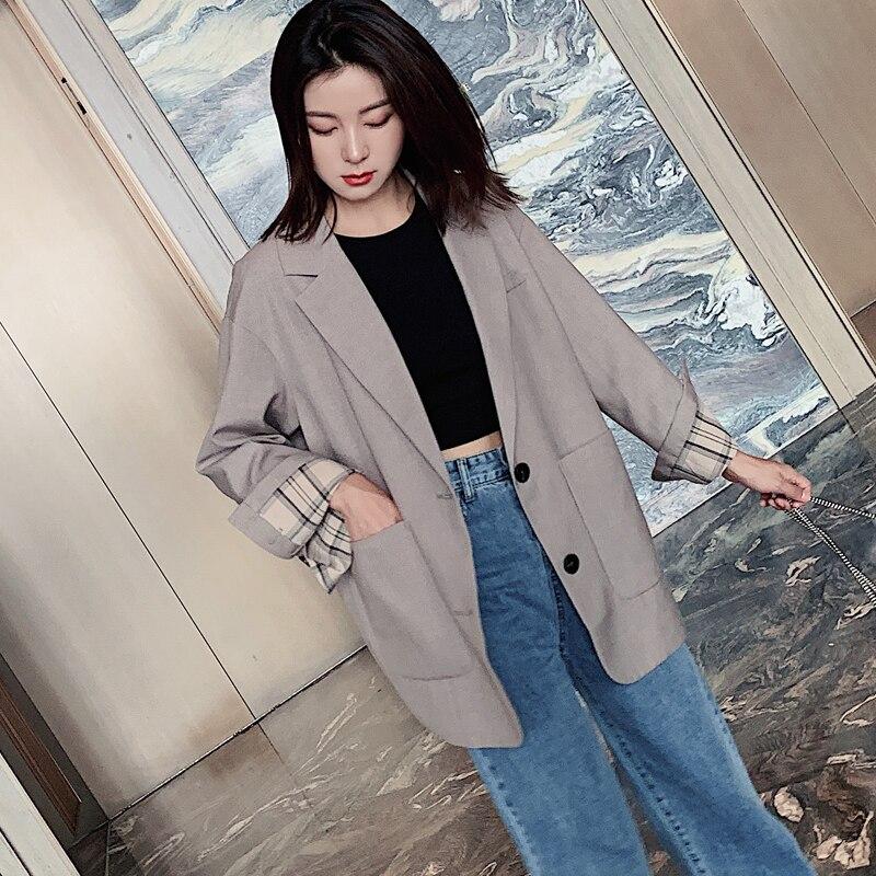 Loose Korean Ladies Blazer Solid Khaki Simple Casual Suit Jacket Veste Femme Longue Vintage Spring Autumn Women Blazer MM60NXZ