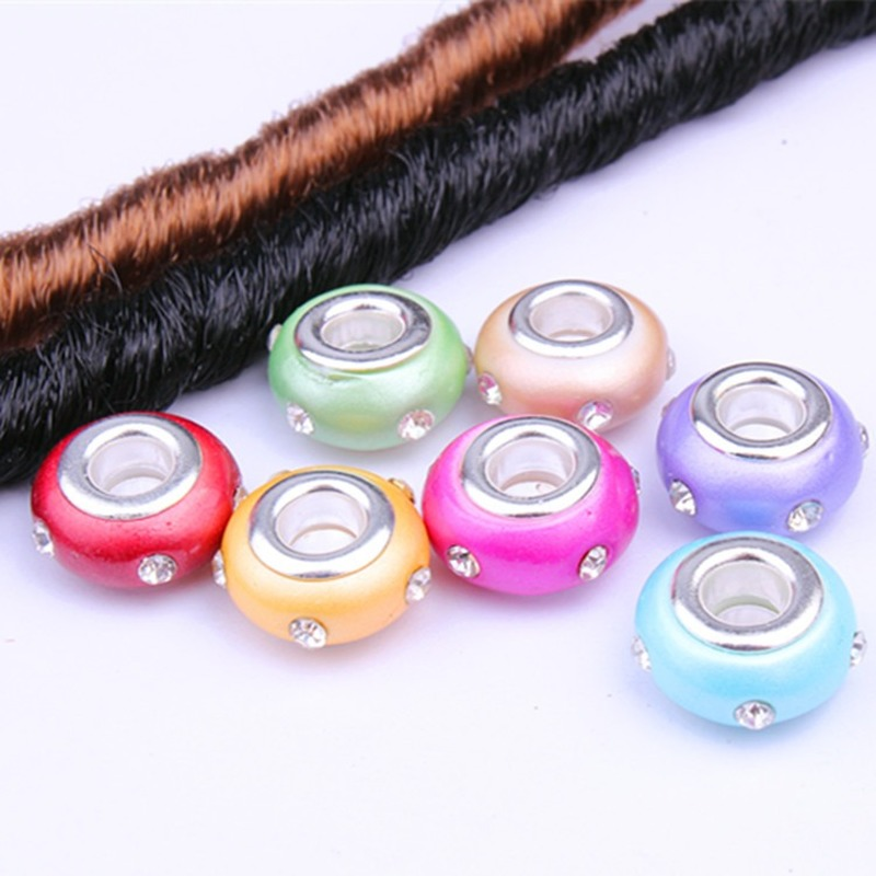 DIY Large Hole Studded Resin Beads Wig Jewelry Reggae Decorative Headwear Hair Band Dreadlock Accessories Hair Rings For Braids