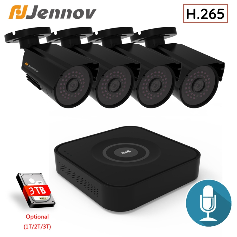 Jennov 2/4CH 1080P AHD DVR Kit H.265 CCTV System NVR Outdoor Camera Video Surveillance Set IR Night Vision Indoor Home Security