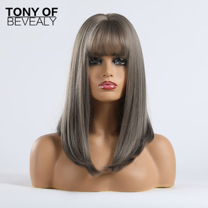 Image 5 - ミディアムの長さストレートウィッグブラにグレーとオンブル毛アフロ女性用前髪コスプレ耐熱ナチュラルかつら