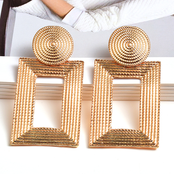 Hot Sell New Geometric Gold Metal Dangle Drop Earrings Fine Jewelry Accessories For Women Fashion Trend Pendientes Bijoux wholesale colorful crystals long drop earrings for women fine jewelry accessories dangling pendientes bijoux christmas gift