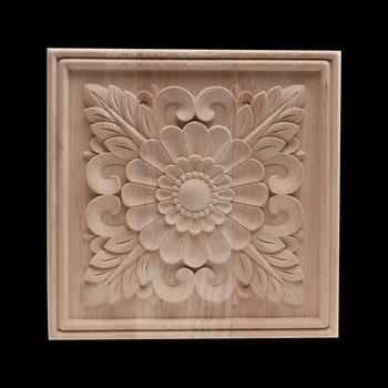 Drewno naklejka drewno aplikacja Onlay drewno rzemiosło rzeźbione wystrój niepomalowane antyczne długi w kwiaty duża guma drewno meble szafka domowa tanie i dobre opinie NoEnName_Null Flower Europa Drewna